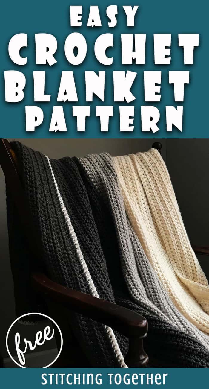 hdc crochet blanket draped over a chair