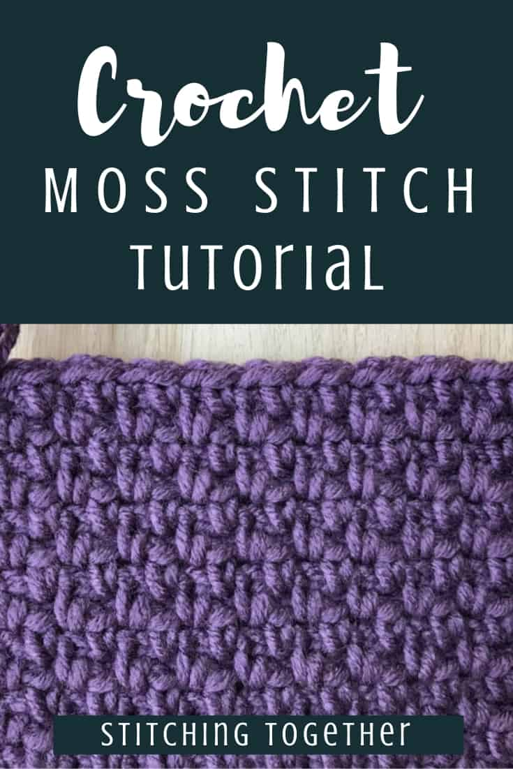 Pin image for moss stitch crochet tutorial