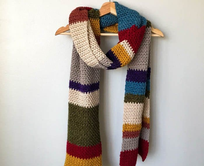 multicolored crochet scarf hanging