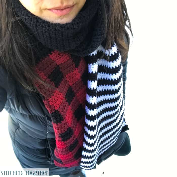 crochet buffalo plaid with black and white strips