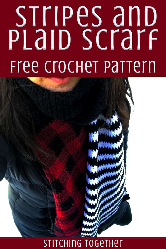 black and white striped and buffalo plaid crochet scarf
