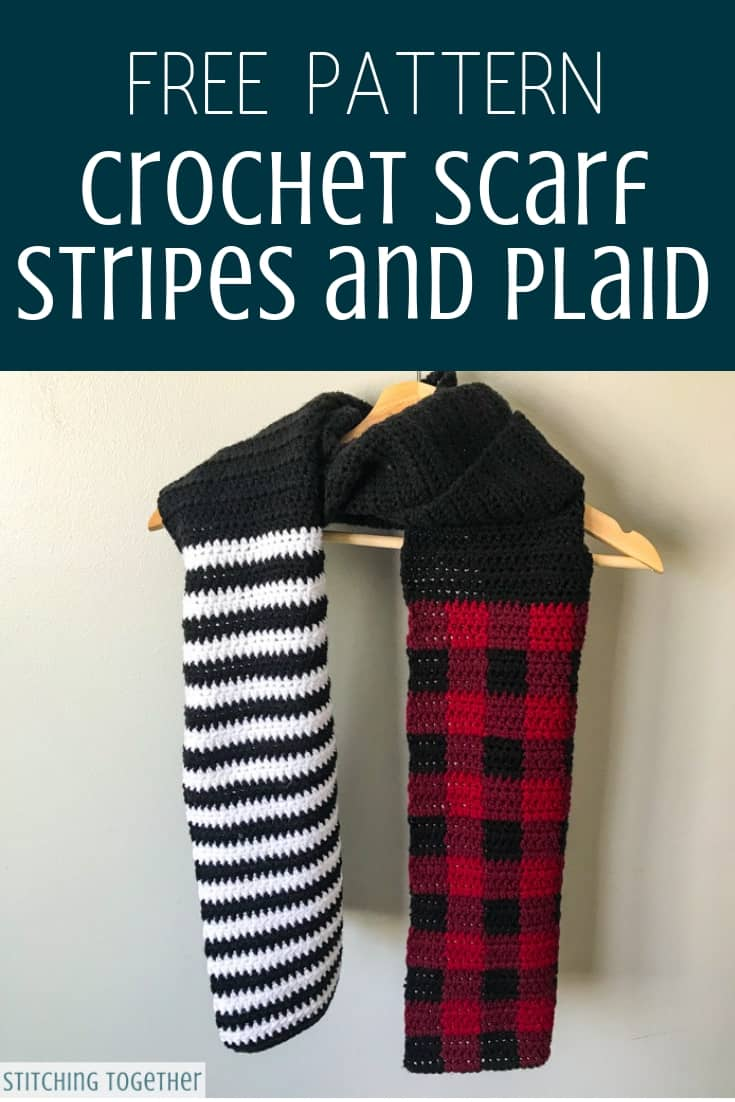 Stripes and Plaid Crochet Scarf on hanger pin