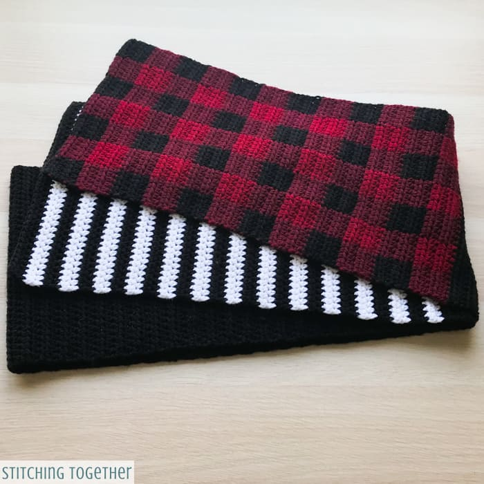 buffalo plaid crochet scarf pattern with stripes