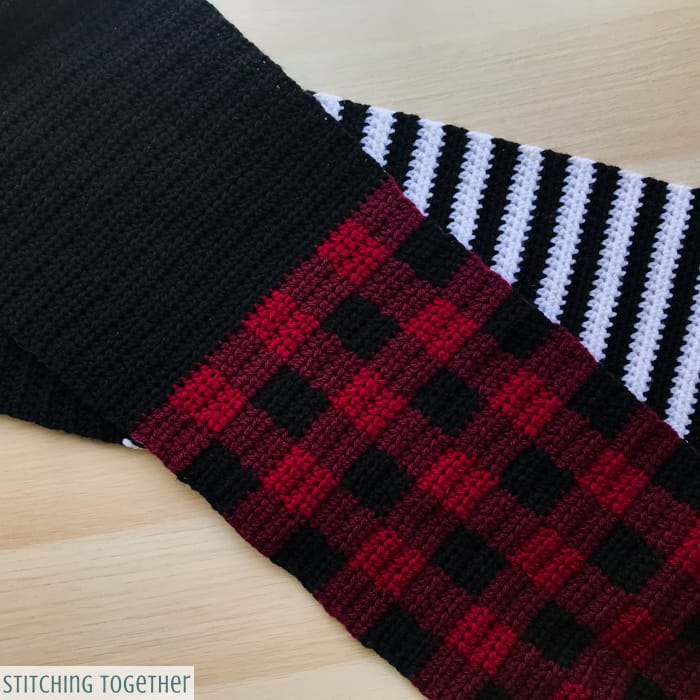 buffalo plaid crochet scarf with stripes