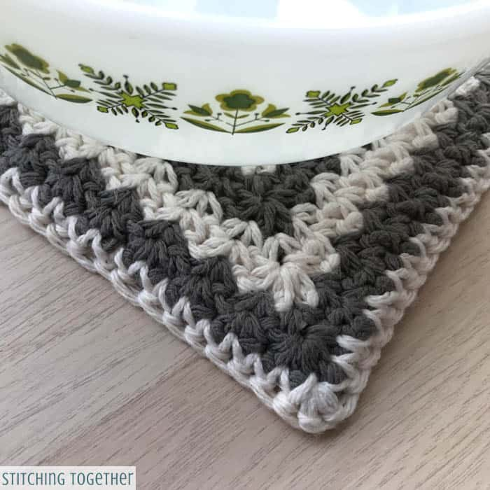 crochet trivet hot pad under dish