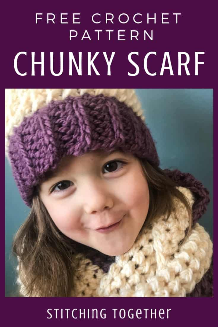 child wearing chunky crochet scarf