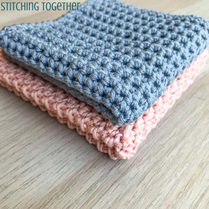 gray and pink crochet baby washcloths