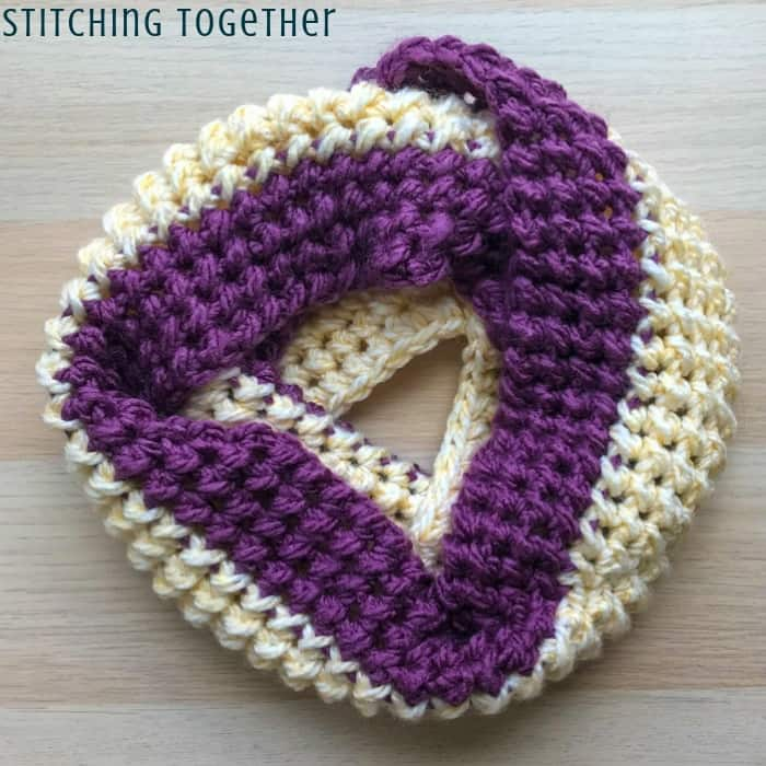 purple and white crochet infinity scarf