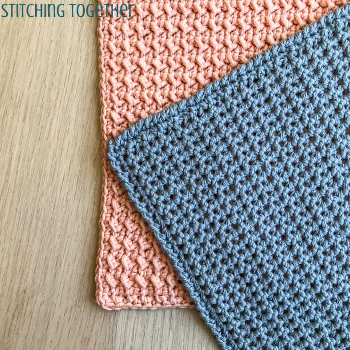 pink and gray crochet washcloths