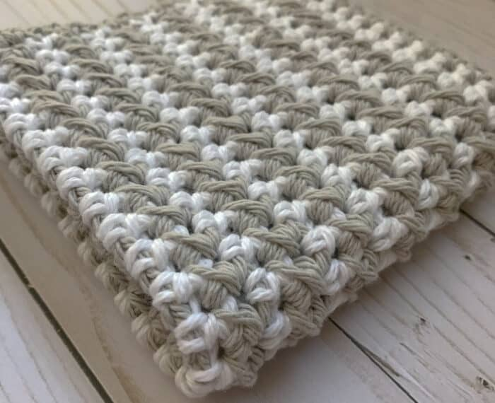textured crochet dishcloth in gray and white
