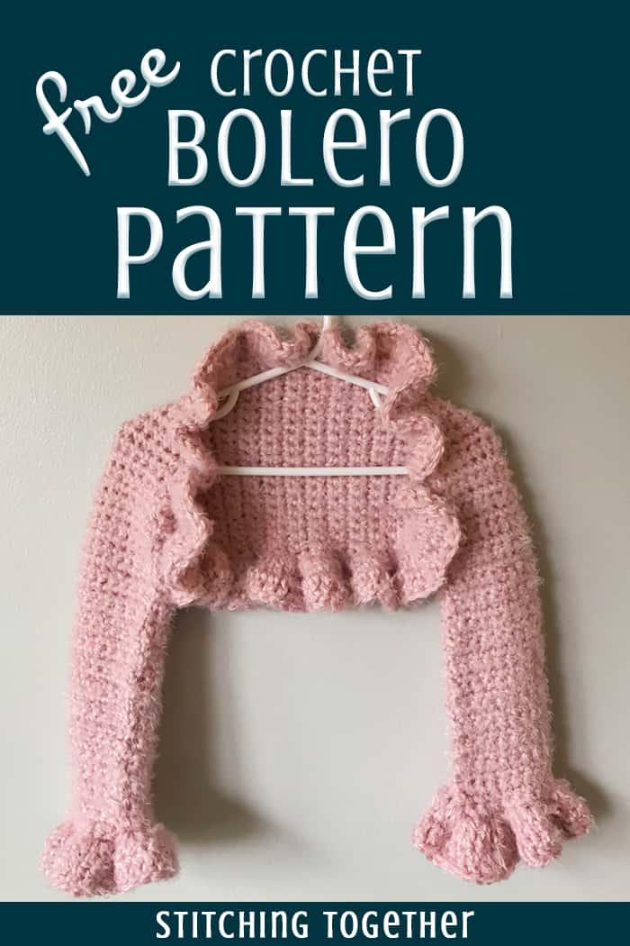 pink crochet bolero free pattern pin image