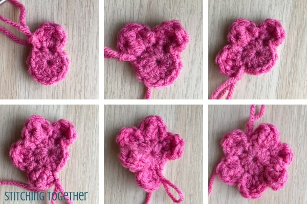 steps to crochet a 6 petal flower