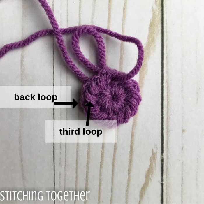 crochet ring with arrows showing back and third loops