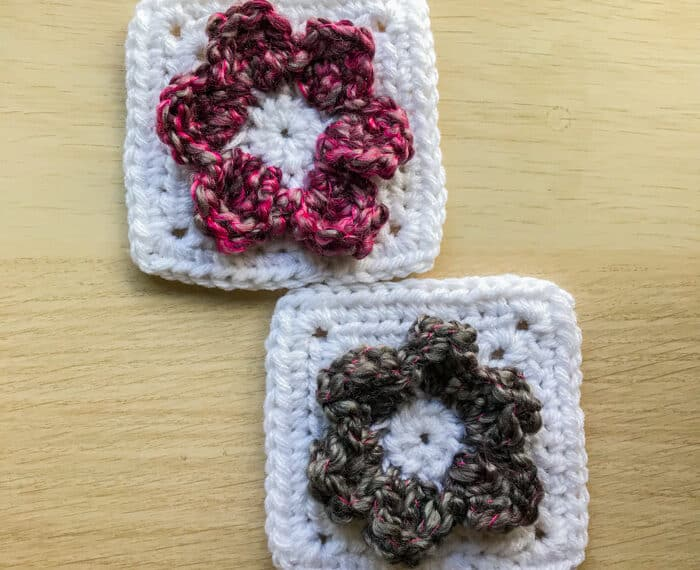 2 granny squares with 3d flowers