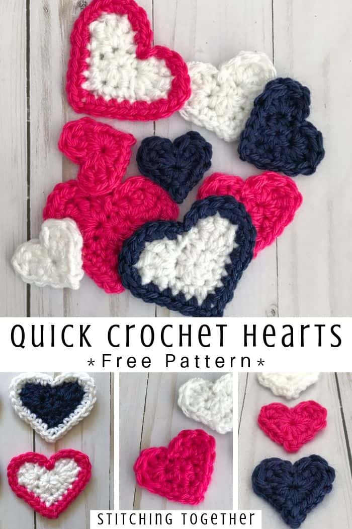 collage image of small crochet hearts