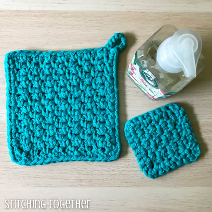 large and small crochet potholder
