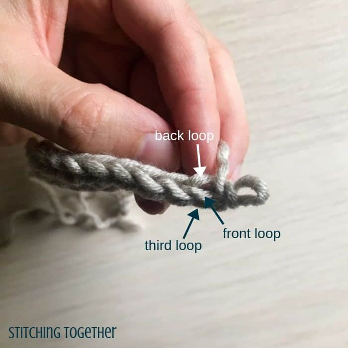 showing the different loops of hdc stitches