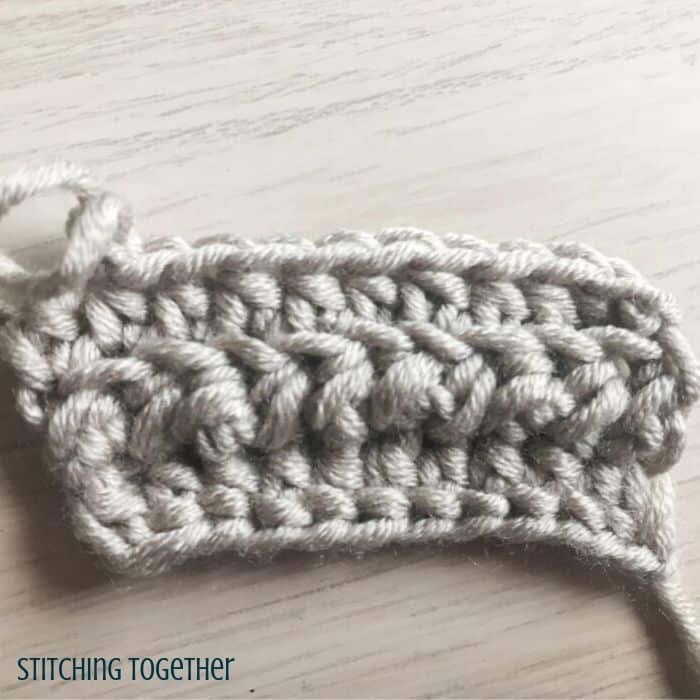 small crochet swatch with textured stitches