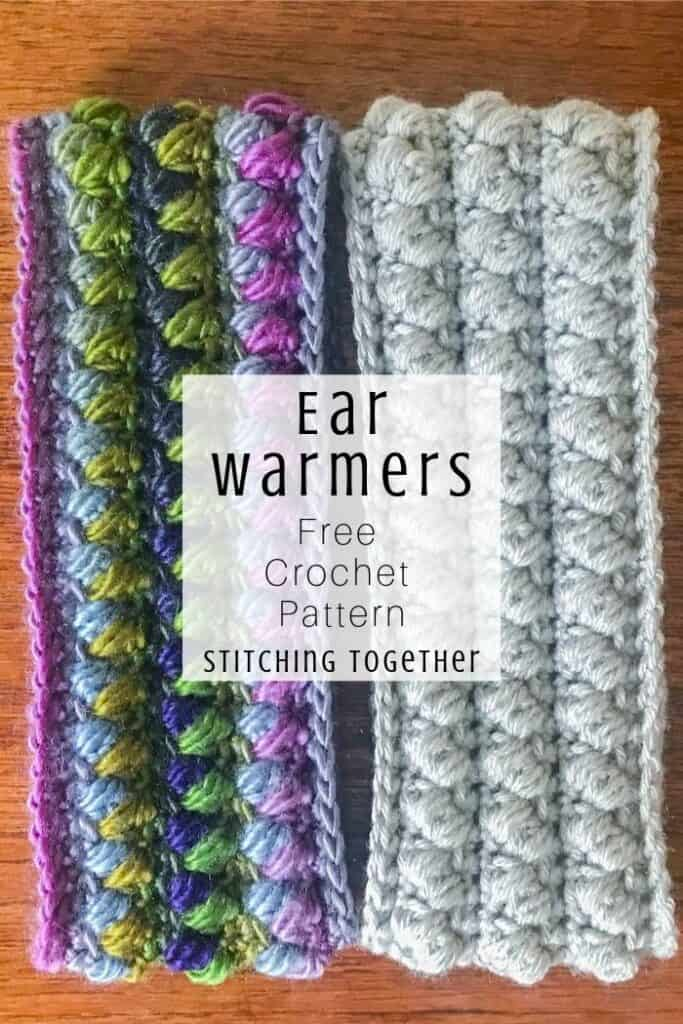 two crochet ear warmer headbands next to each other