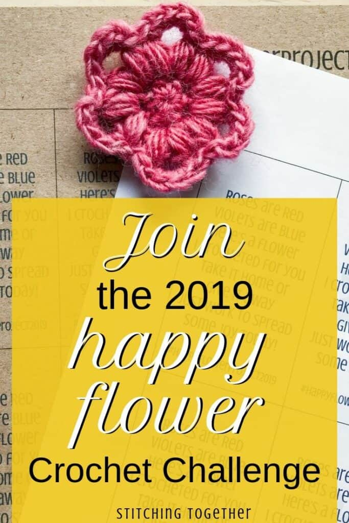 crochet flower with text saying join the 2019 happy flower crochet challenge