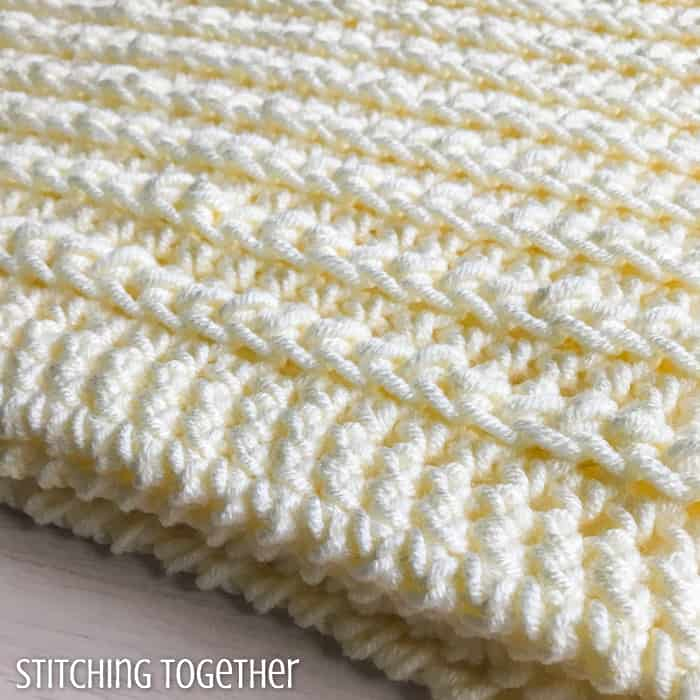 close up of chunky crochet stitches