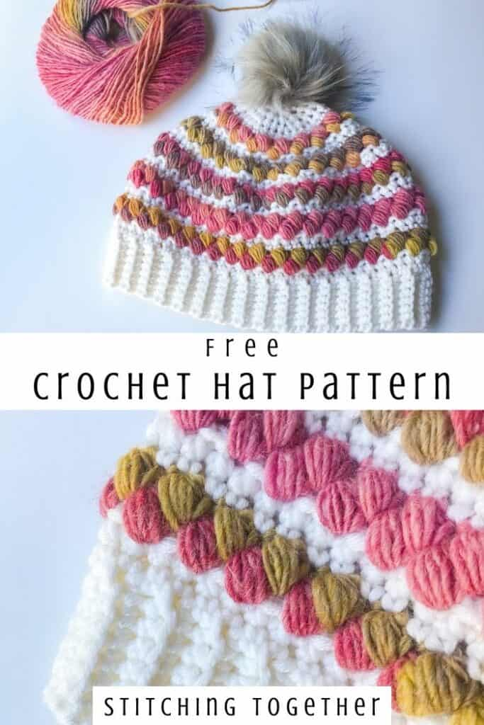 collage image of crochet woman's hat with puff stitches