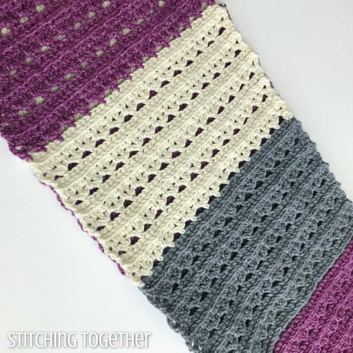 crochet fabric with stripes