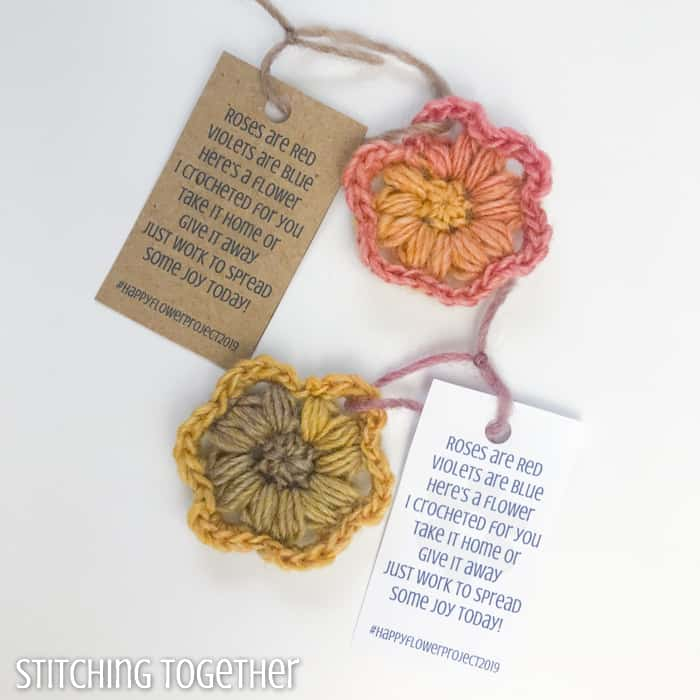 tags with a flower poem on crochet flowers