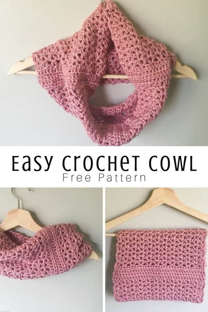 simple crochet cowl hung on a hanger in various ways