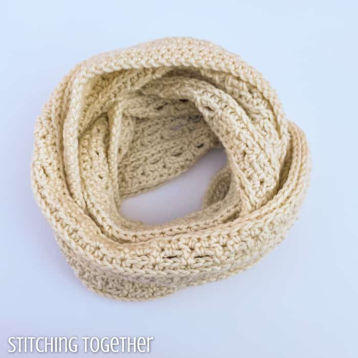 wrapped infinity crochet cowl