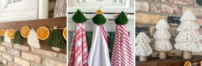 collage of different crochet christmas trees