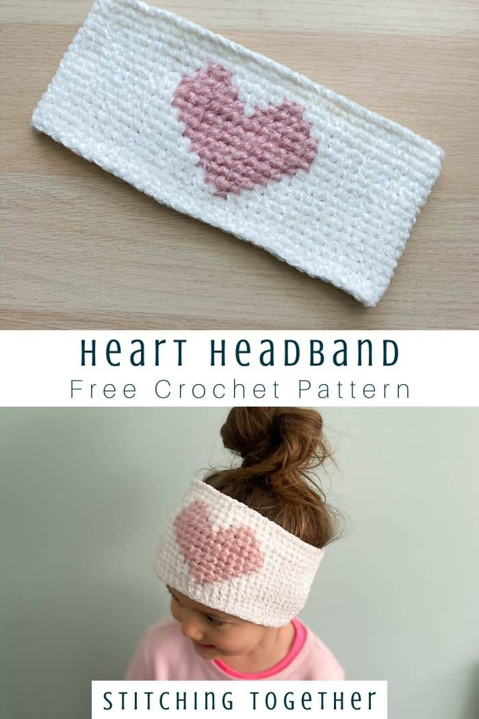 heart headband free crochet pattern pin image