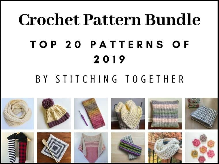 collage images and text reading crochet pattern bundle top 20 patterns of 2019
