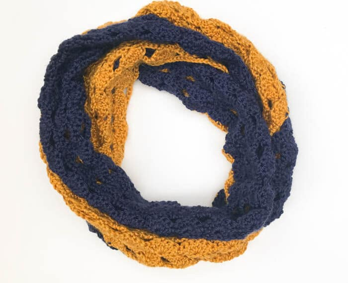 blue and gold team colors crochet infinity scarf