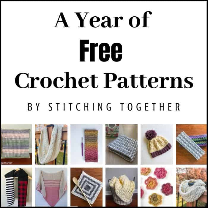 collage images and text reading a year of free crochet patterns