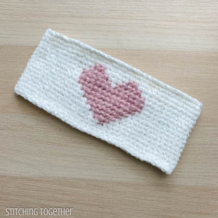 crochet heart head warmer laying flat