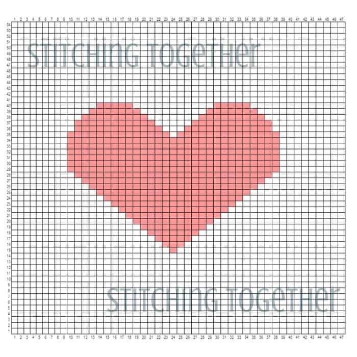 heart graph for crochet pillow