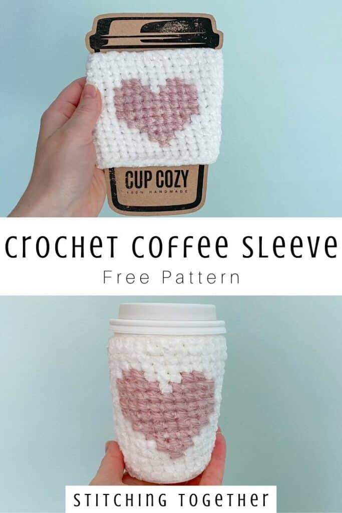 crochet coffee sleeve with heart