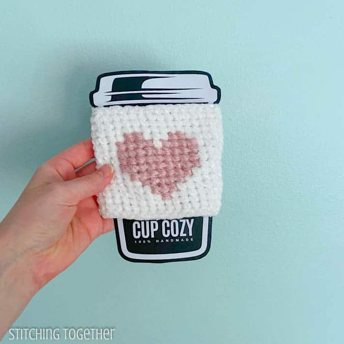 crochet coffee sleeve with pink heart