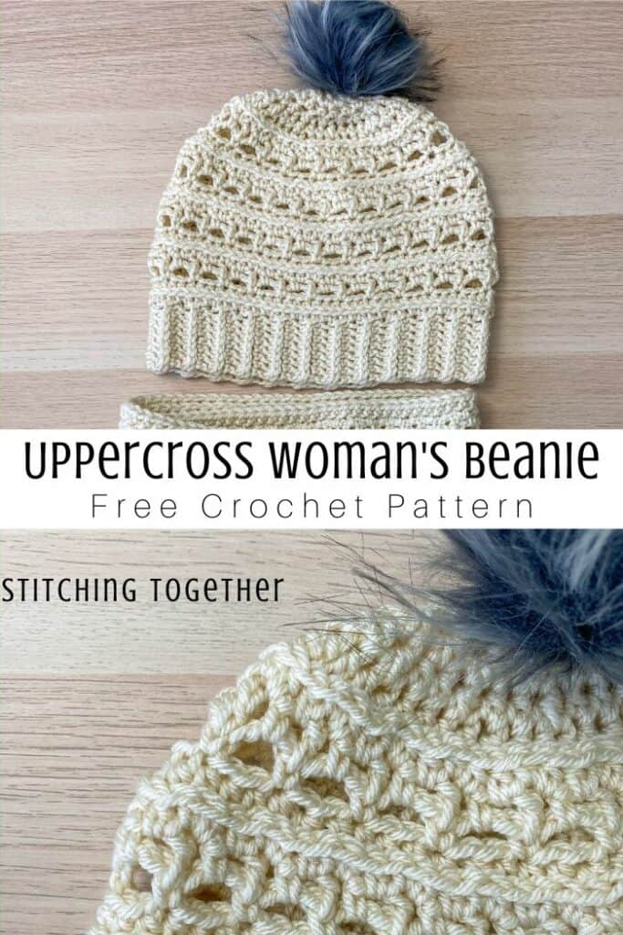 collage image of crochet beanie with lacy stitches and pom pom