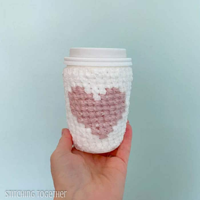 to go coffee cup with crochet sleeve