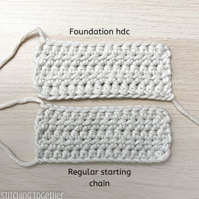 2 crochet swatches. one started with a chainless hdc and the other with a chain