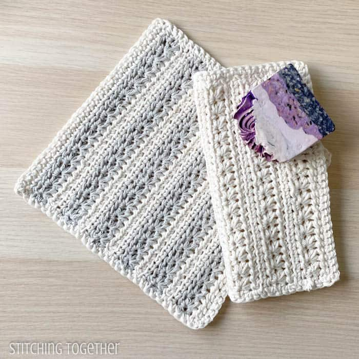 2 crochet textured dishcloths with a bar of soap
