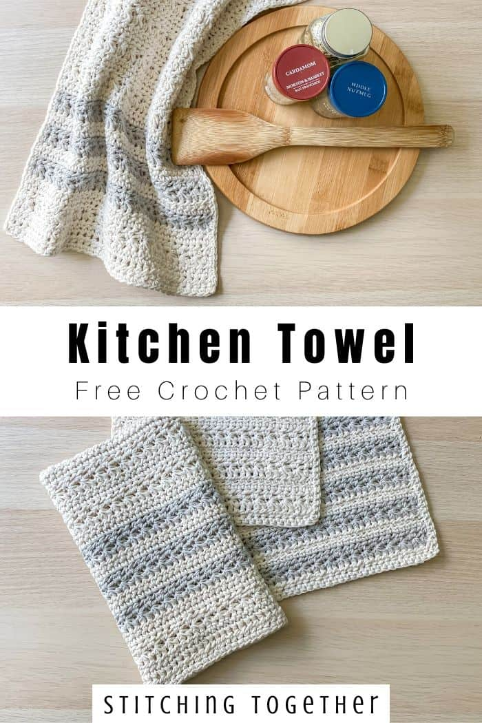 collage image or crochet kitchen towel and matching dishcloths