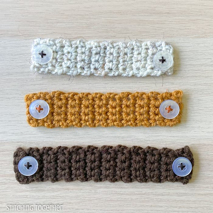 differently sized crochet ear savers