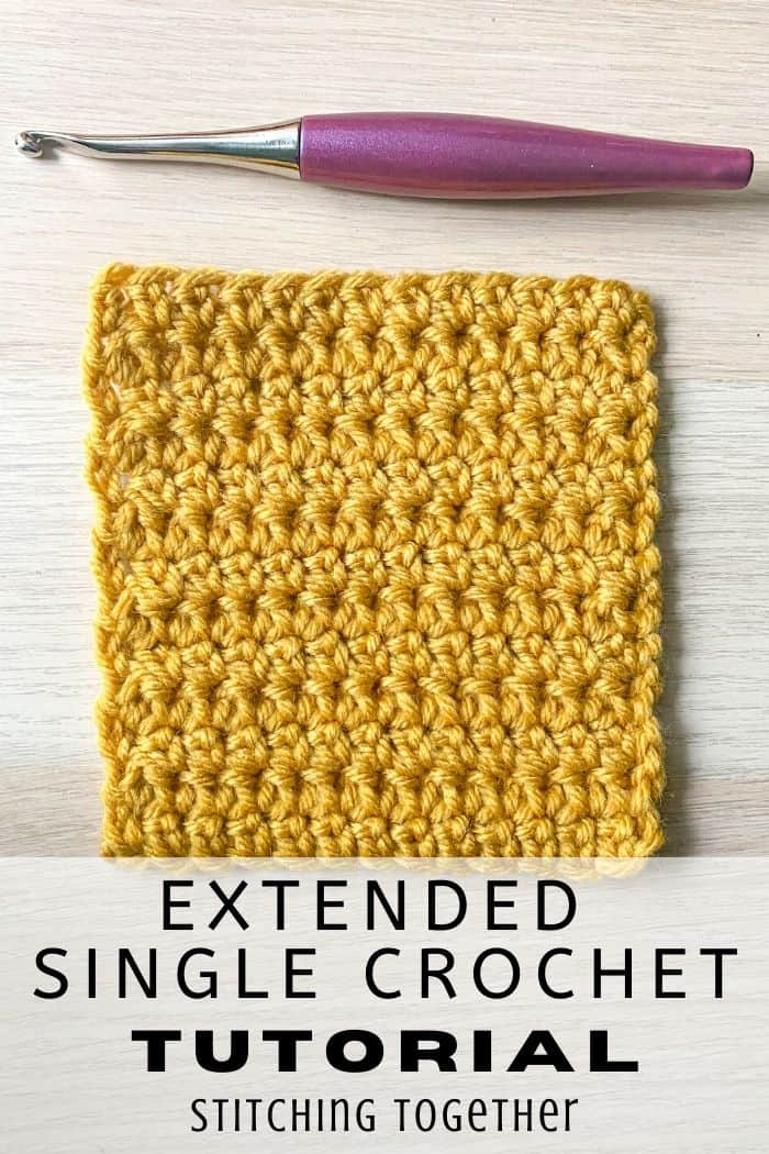 extended single crochet swatch with hook