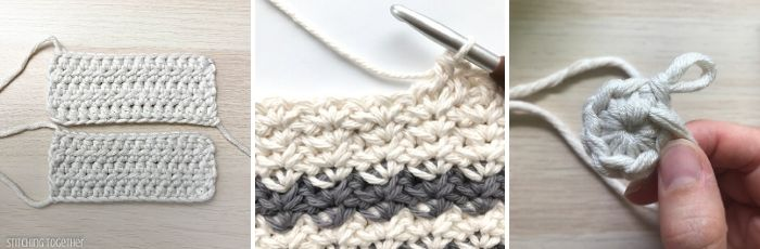collage of three different crochet stitches