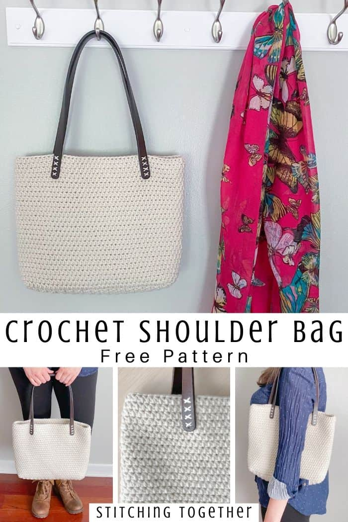 collage of crochet bag with leather straps