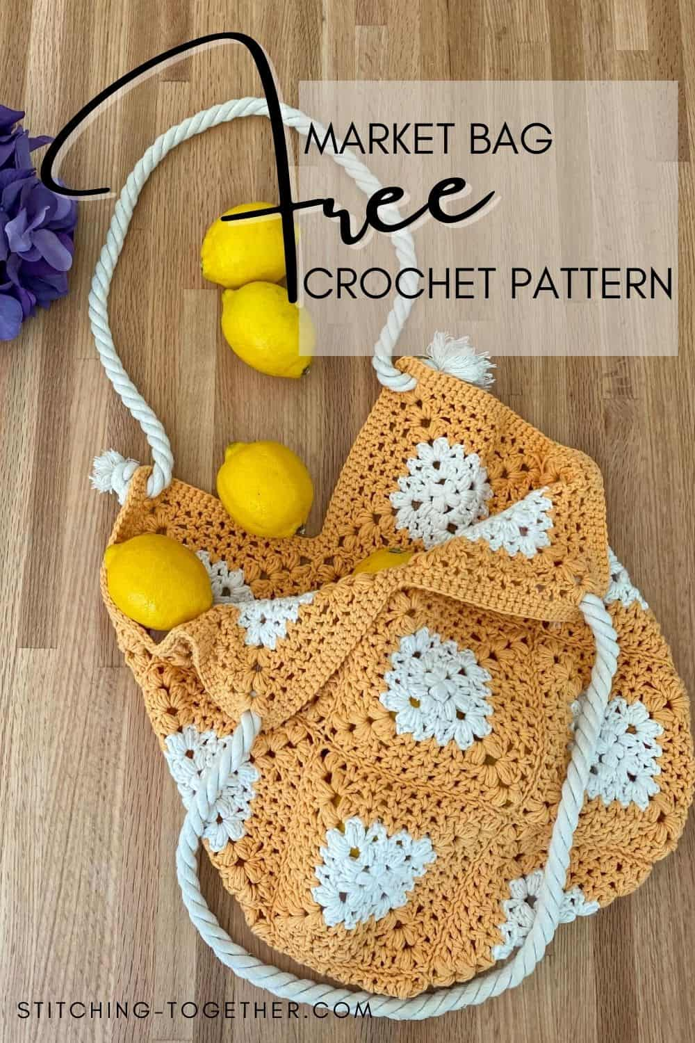 pin image of market bag crochet with lemons rolling out of the crochet bag onto the counter