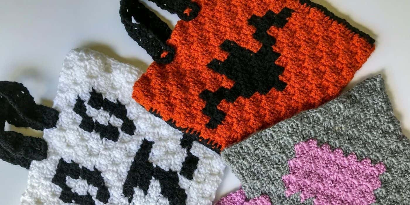 3 crochet trick or treat bags